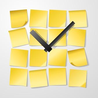 Ontwerp met papieren klok met stickers