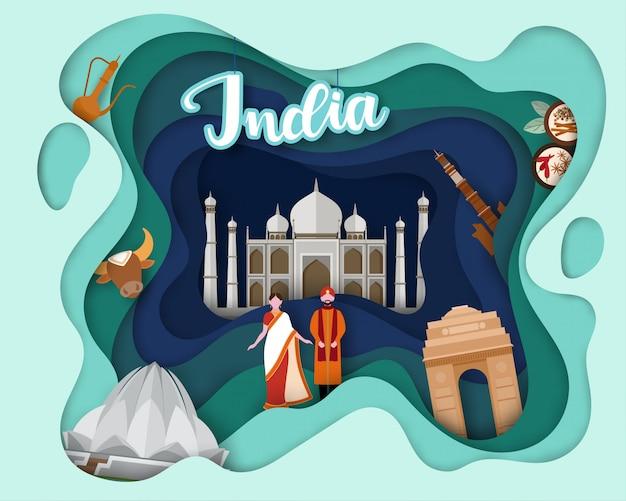Ontwerp met papiersnit van tourist travel india