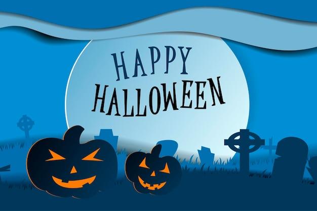 Ontwerp met pompoen op begraafplaats. gelukkig halloween papier kunststijl. vector gesneden illustratie.