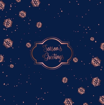 Ontwerp met rose gouden en blauwe kerstkaarten