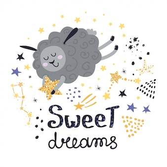 Ontwerp met schapen, sterren en letters