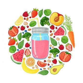 Ontwerp met smoothiekruik en en ingrediënten decoratie met fruit, groenten en kruiden