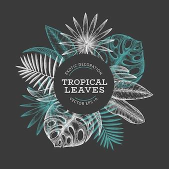 Ontwerp met tropische planten banner