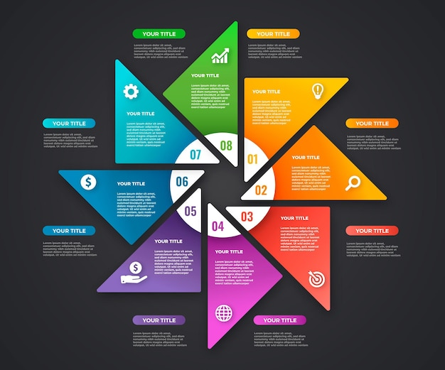 Ontwerp met verloop infographic stappen