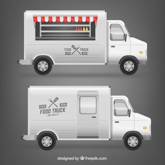 Ontwerp met witte voedselwagen