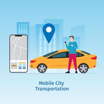 Ontwerp mobiele stad vector illustratie concept