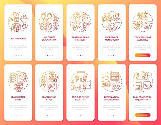 Ontwerp nieuwe dagelijkse routine onboarding mobiele app-paginaschermen