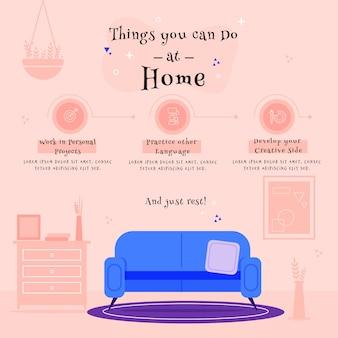 Ontwerp om thuis te blijven infographic met dingen om te doen