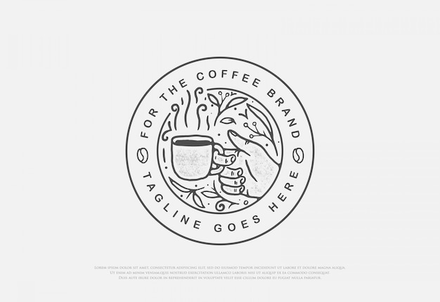 Ontwerp premium natuurlijke koffie met lijn art stijl badge