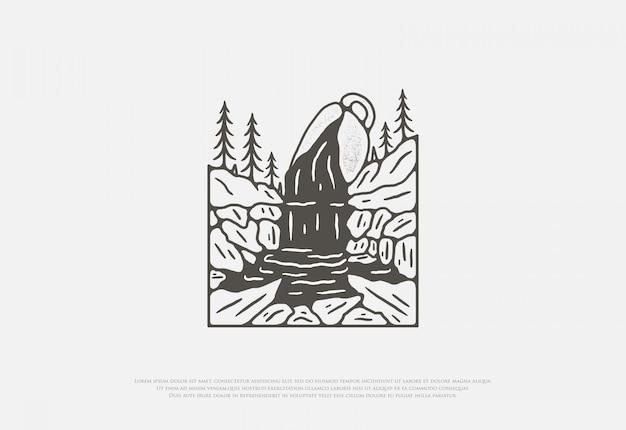 Ontwerp premium rivierstroom koffiekop met lijntekeningenstijl, dit ontwerp kan worden bedrukt op shirts, jassen, papier en voor andere koopwaar