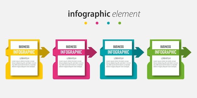Ontwerp presentatiesjabloon met 4 stappen