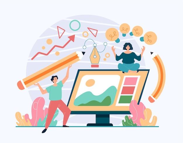Ontwerp projectontwikkeling teamwerk creatief werkconcept. vlakke afbeelding