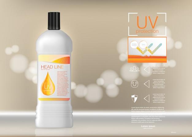 Ontwerp reclame voor cosmetica. illustratie. sunblock advertentiesjabloon, cosmetische producten voor bescherming tegen de zon met crème of vloeistof, achtergrond.