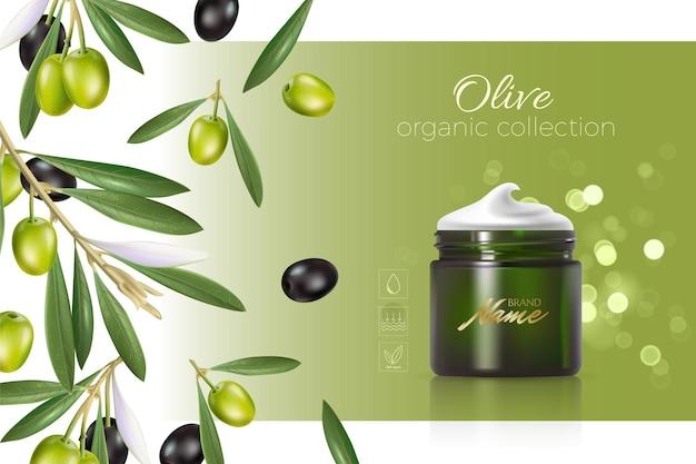 Ontwerp reclame voor cosmeticaproducten voor catalogus, tijdschrift. bespotten van cosmetisch pakket. hydraterende crème, gel, melk bodylotion met olijfolie.