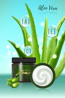 Ontwerp reclameposter voor cosmetisch product voor catalogus, tijdschrift. vectorontwerp van cosmetisch pakket. hydraterende crème, gel, bodylotion met aloë vera-extract.