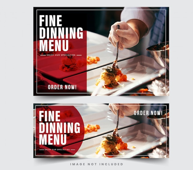 Ontwerp restaurant banner voor sociale netwerken, sjabloon voor reclame