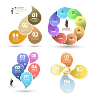 Ontwerp schone nummer banners sjabloon grafische set