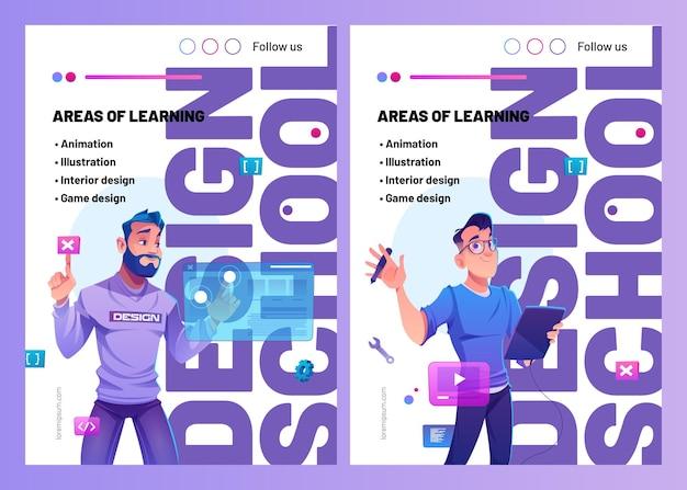 Ontwerp schoolposters met tekenfilmontwerper met grafisch tablet