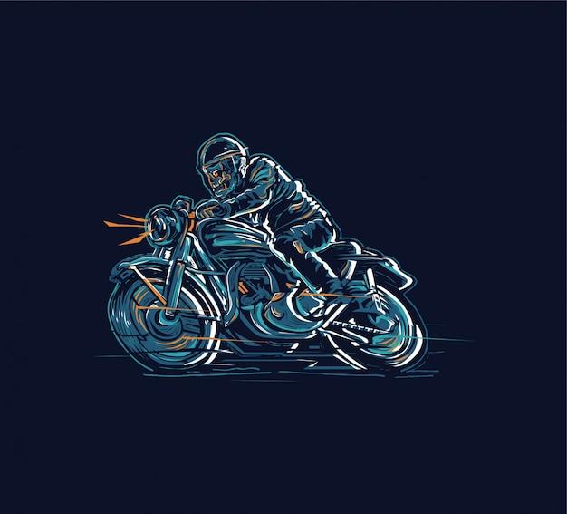 Ontwerp skull rider-motorfiets voor poster- of grafische tees en een meer toepassing