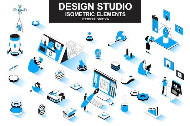 Ontwerp studio 3d isometrische lijnelementen