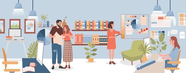 Ontwerp studio vector platte illustratie collega's bespreken werk jonge vrouw