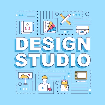 Ontwerp studio woord concepten banner. creatief bureau. workshop kunstenaar. infographics met lineaire pictogrammen op turkooizen achtergrond. geïsoleerde typografie. vector overzicht rgb-kleurenillustratie