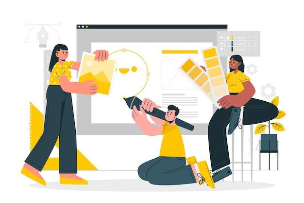 Ontwerp team concept illustratie