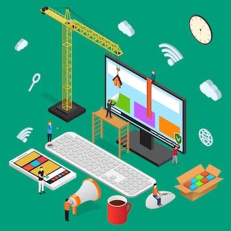 Ontwerp usability concept isometrische weergave heks mobiele telefoon en computer optimalisatie creatief project. vector illustratie