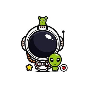 Ontwerp van astronautenvrienden met buitenaardse wezens