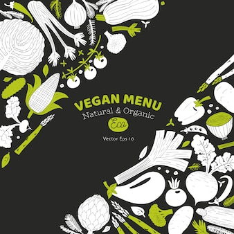 Ontwerp van beeldverhaal het hand getrokken groenten. monochrome afbeelding. groenten achtergrond