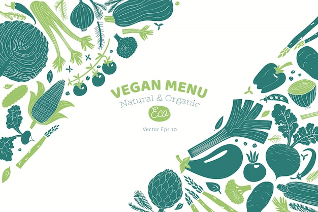 Ontwerp van beeldverhaal het hand getrokken groenten. monochrome afbeelding. linosnede stijl. gezond eten. vector illustratie