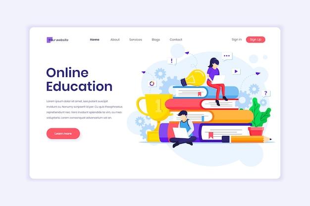 Ontwerp van bestemmingspagina's van online leerwebinar en online onderwijs met illustratie van personages