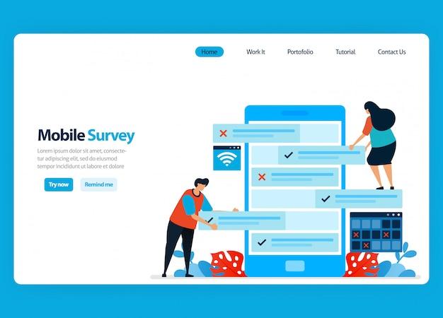 Ontwerp van bestemmingspagina's voor online enquête en examen, beoordeling van klanttevredenheid en gebruikersbeoordeling met mobiele enquête-apps. vlakke afbeelding