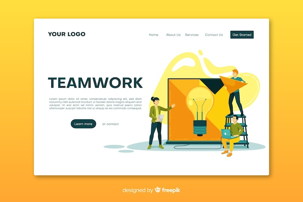 Ontwerp van bestemmingspagina's voor teamwerk van bedrijven