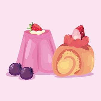 Ontwerp van cinammon en gelei, zoete dessert en voedselthema