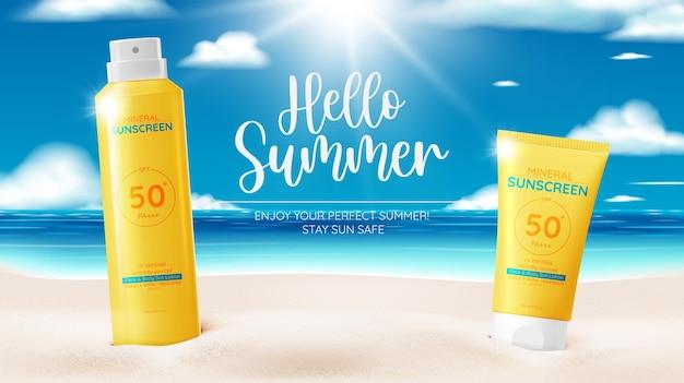 Ontwerp van cosmetische producten voor bescherming, cosmetische producten voor zonnebrandcrème en zonnebaden