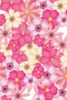 Ontwerp van de achtergrond roze paars en geel bloemen, natuurlijke bloemen natuur plant ornament tuindecoratie en plantkunde thema