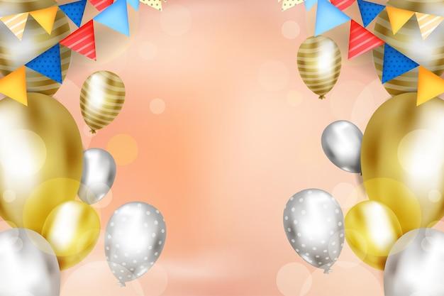 Ontwerp van de achtergrond van de partij met kopie ruimte op 3d ballon vectorillustratie