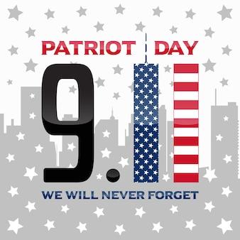 Ontwerp van de achtergrond van de patriotdag met tweelingtorenillustratie