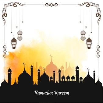 Ontwerp van de achtergrond van het religieuze islamitische ramadan kareem festival