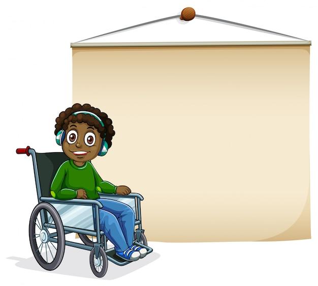 Ontwerp van de banner met jongen op rolstoel