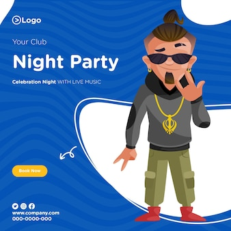 Ontwerp van de banner van club night party