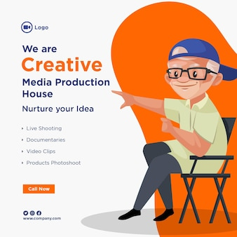 Ontwerp van de banner van creatieve mediaproductie huis sjabloon