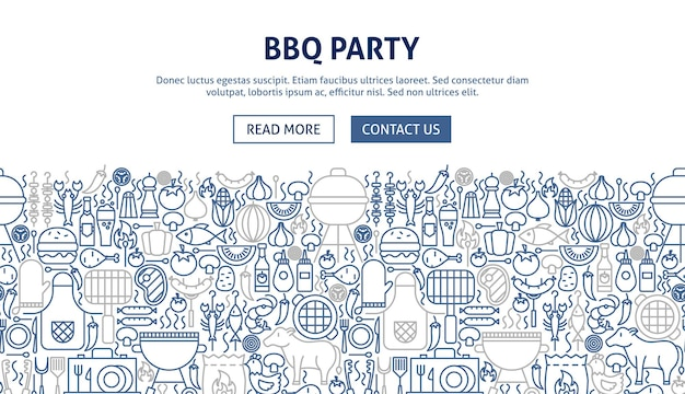 Ontwerp van de banner van de barbecuepartij. vectorillustratie van lijn webconcept.