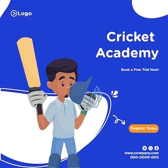 Ontwerp van de banner van de cricketacademie in cartoon-stijl