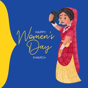 Ontwerp van de banner van de gelukkige vrouwendag met indiase vrouw die een selfie op haar telefoon neemt