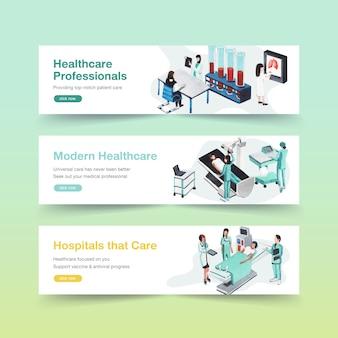Ontwerp van de banner van de gezondheidszorg met ziekenhuis, arts en apotheek