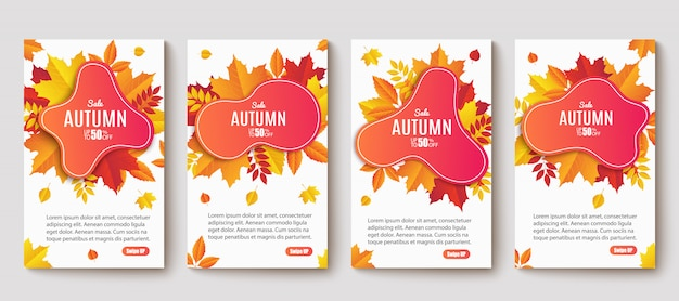 Ontwerp van de banner van de herfst verkoop instellen. herfst verkoop sticker sjabloon