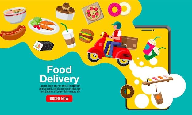 Ontwerp van de banner van de levering van eten, online bestelling
