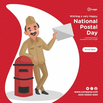 Ontwerp van de banner van de nationale postdienst cartoon stijlsjabloon